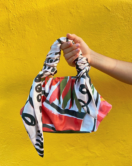 Mini Cotton Hand Bag with Wrapped Silk Scarf