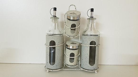 4 Pcs Oil, Vinegar, Salt & Paper Condiment Set with Window(Beige)