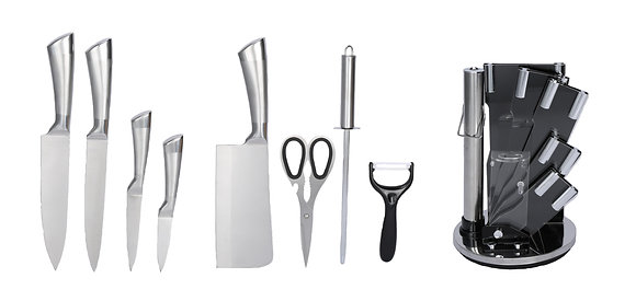 9 pcs Stainless Steel Kitchen Knife Set (with Plain Handles)
