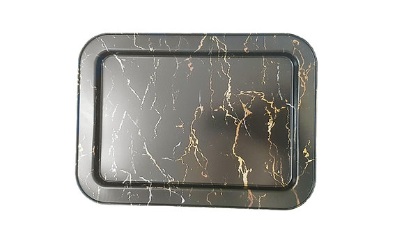 Black Metal Serving Tray (With Gold, Grey and White detail)