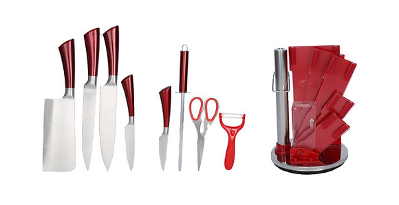 9 pcs Stainless Steel Kitchen Knife Set (with shinny Red Handles)