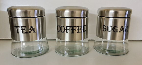 3PCS Stainless Steel Canister Set(with writing)