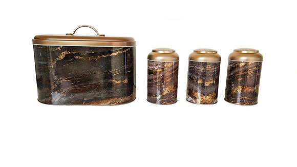 Rock and Gold Bread Bin with 3 Pcs Canister Set