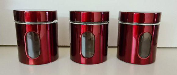 3PCS Shiny Red Canister Set(with viewing window)