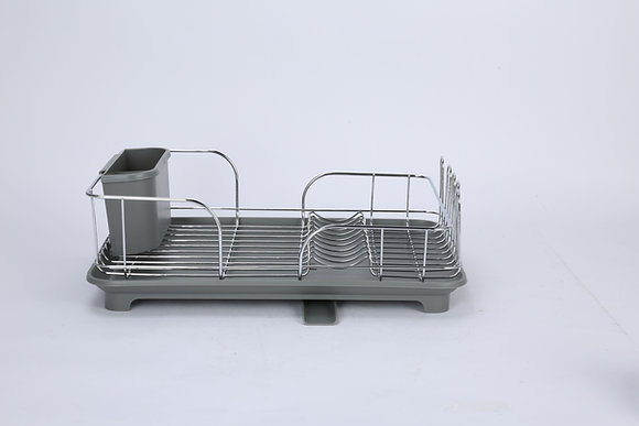 Stainless Steel Dish Rack with Grey Plastic Base