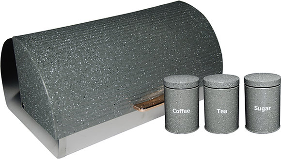 Grey Dotted Bread Bin with 3 Piece Canister Set