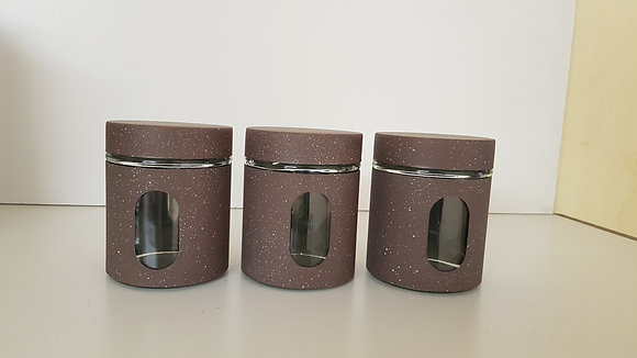 3 Pcs Metal and Glass Canister set with Window(Brown)
