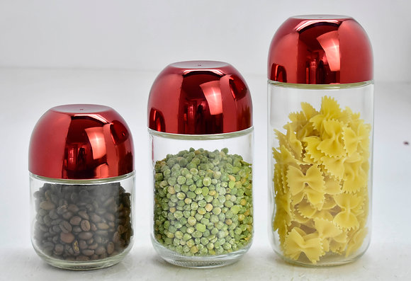 3 Pcs Canister Set with Shinny Red Lid