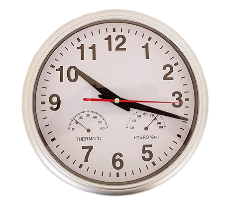 10 inch Silver Wall Clock (with Thermometer &Hygrometer)