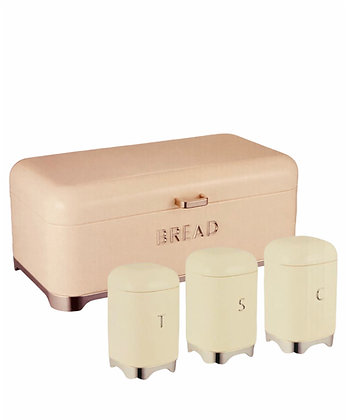 Deluxe Edition Breadbin with 3Pcs Canister Set - Cream