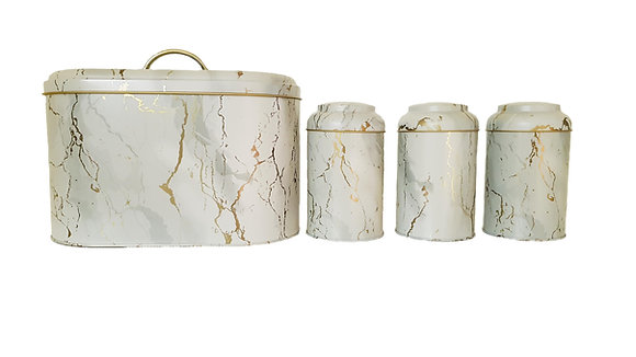 Cream Bread Bin with 3 Pcs Canister Set (Gold and Grey Detail)
