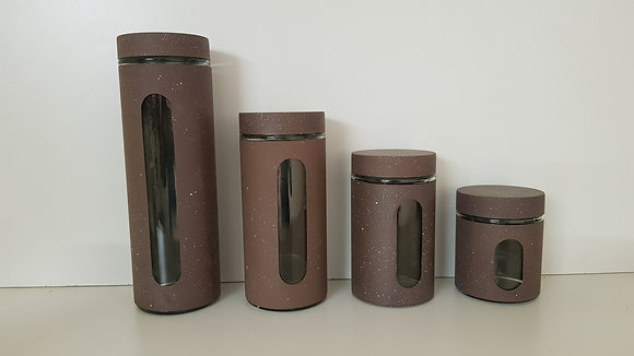 4 Pcs Metal and Glass Canister set with Window(Brown)