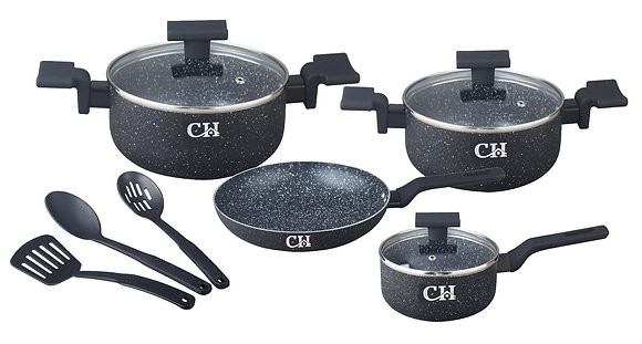 Black Marble Finish 10Pcs Non-Stick Cookware Pot Set with Nylon Cooking Utensils