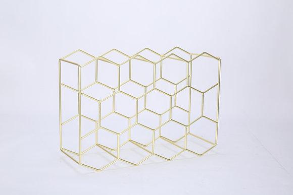 11 Bottles Gold Hexagonal Wine Rack.