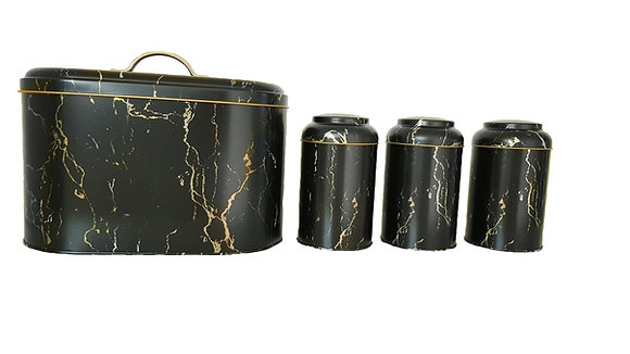 Black Bread Bin with 3 Pcs Canister Set (Gold and White detail)