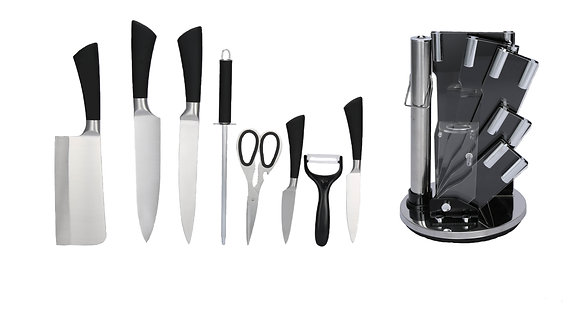 9 pcs Stainless Steel Kitchen Knife Set (with Black Handles)