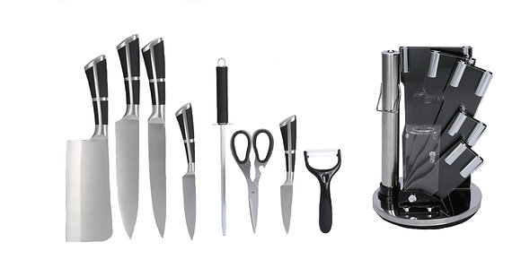 9 pcs Stainless Steel Kitchen Knife Set (with Black and Cross Handles)