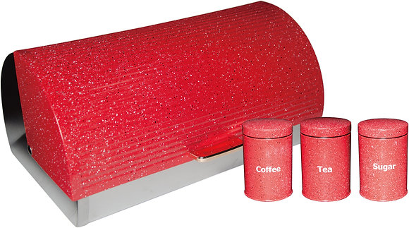 Red Dotted Bread Bin with 3 Piece Canister Set