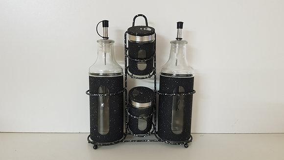 4 Pcs Oil, Vinegar, Salt & Paper Condiment Set with Window(Black)