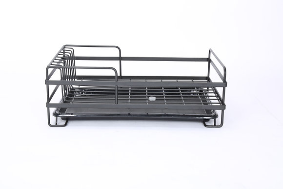 Matt Black Dish Rack with Black Plastic Base