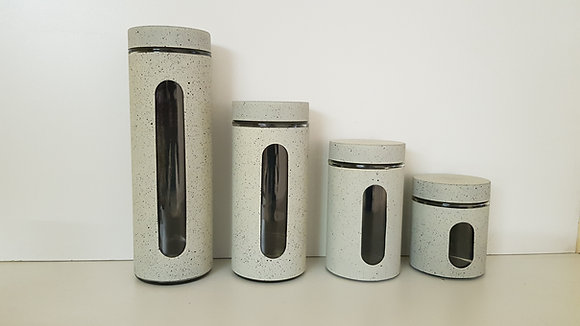 4 Pcs Metal and Glass Canister set with Window(Beige)