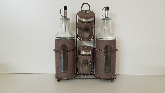 4 Pcs Oil, Vinegar, Salt & Paper Condiment Set with Window(Brown)