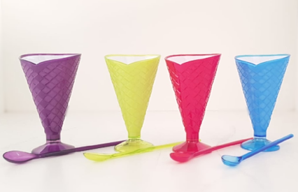 Cone Ice-Cream Cups with Spoons