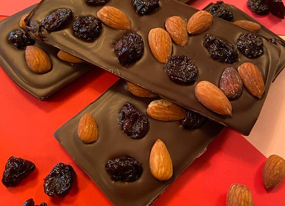 Belgian Dark Chocolate Bar sprinkled with Cherries and Almonds