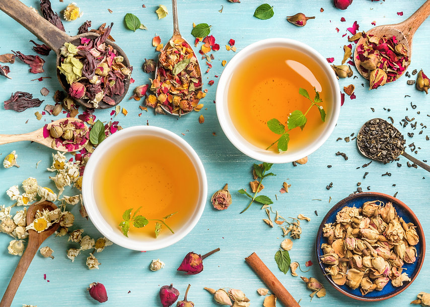 Two cups of healthy herbal tea with mint