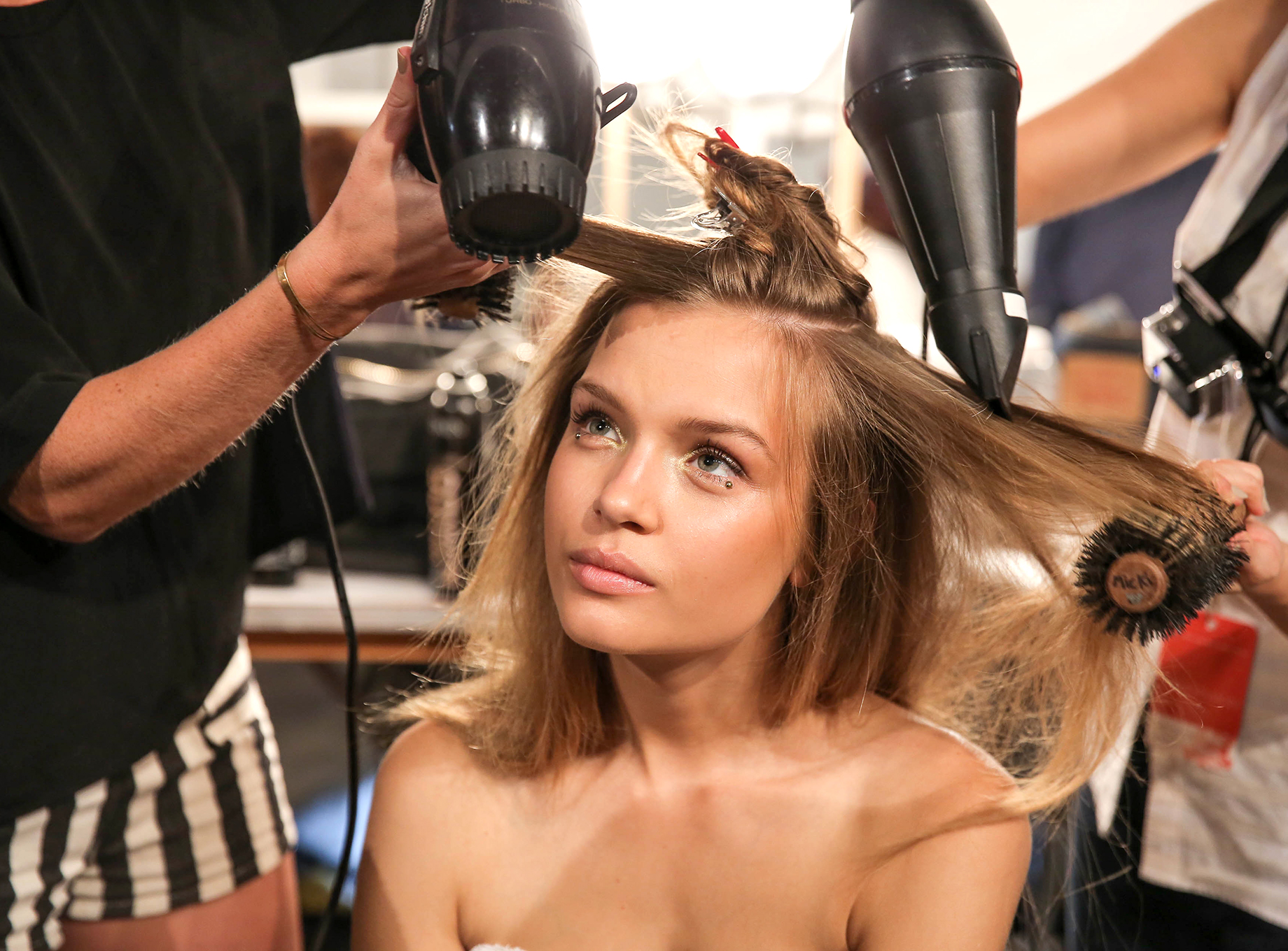 Josephine Skriver backstage at Zimmerman