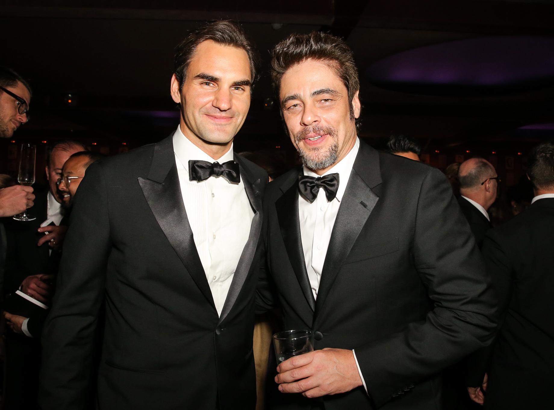 Roger Federer and Benicio del Toro