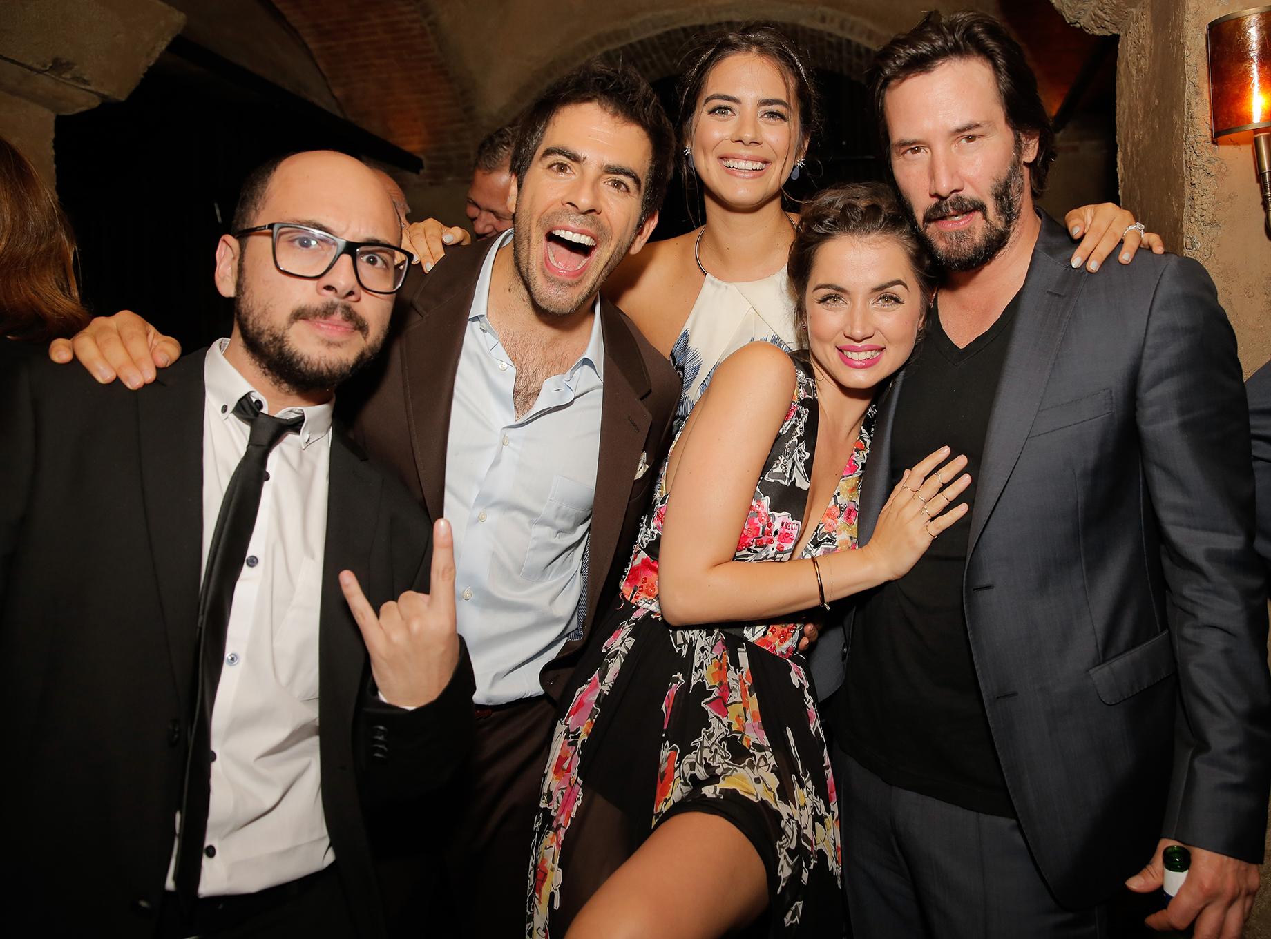 Nicolas Lopez, Eli Roth, Lorenza Izzo, Ana De Armas and Keanu Reeves