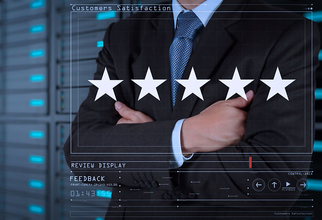 Five stars (5) rating with a businessman