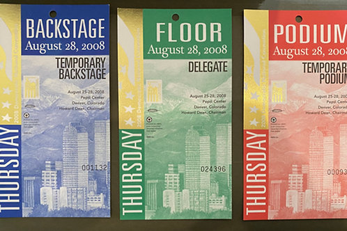 Delegate Floor Pass - 2008 Democratic National Convention
