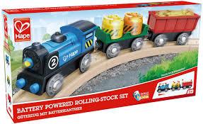 HAPE- Train de marchandises avec batterie en bois