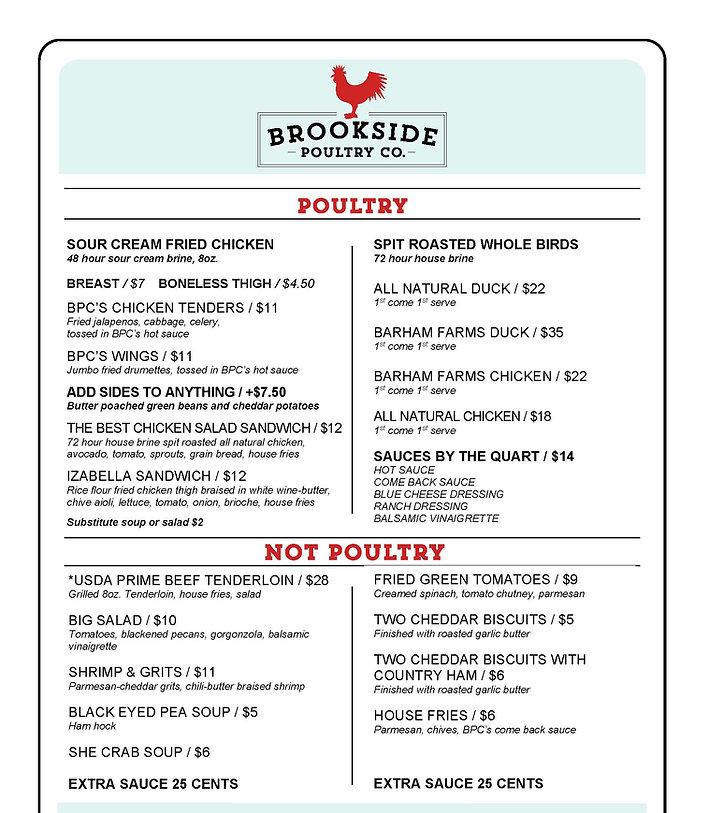 brookside poultry company menu editable