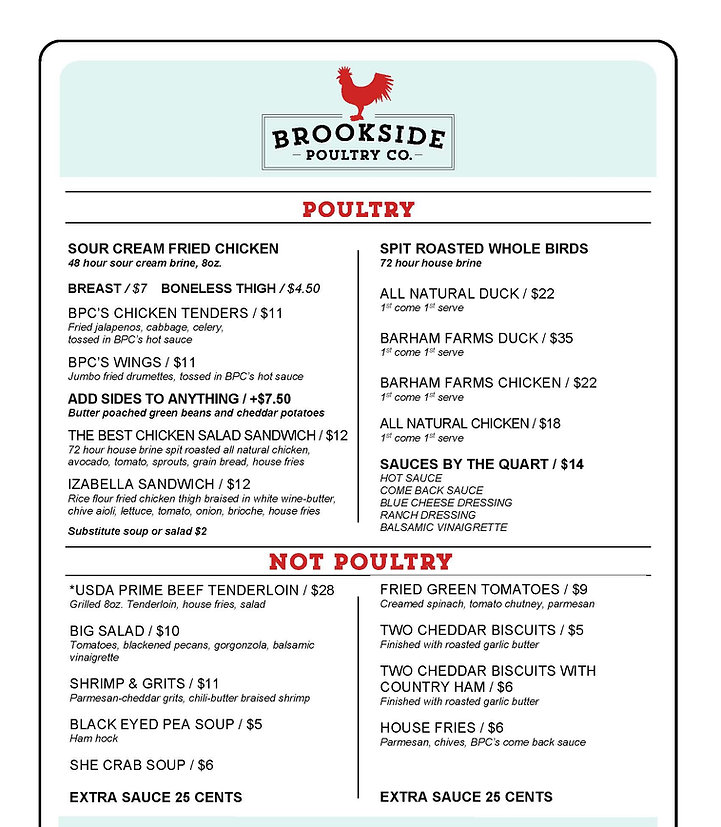 brookside poultry company menu editable