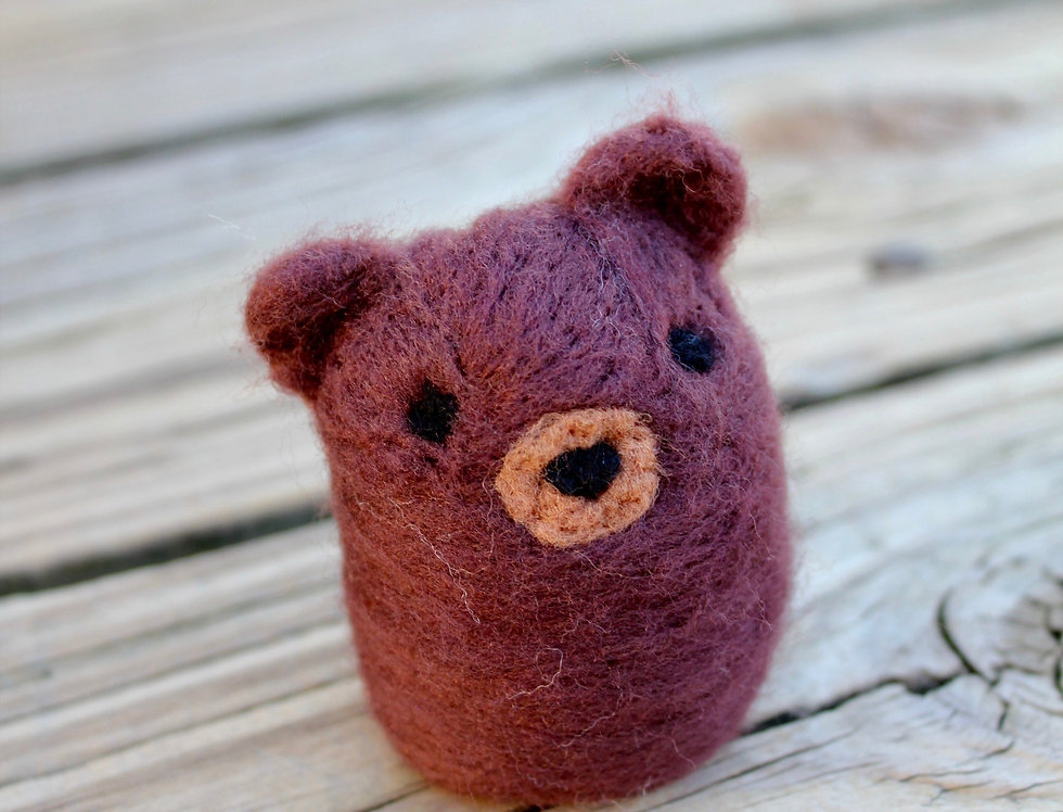 Felted Chibi Brown Bear