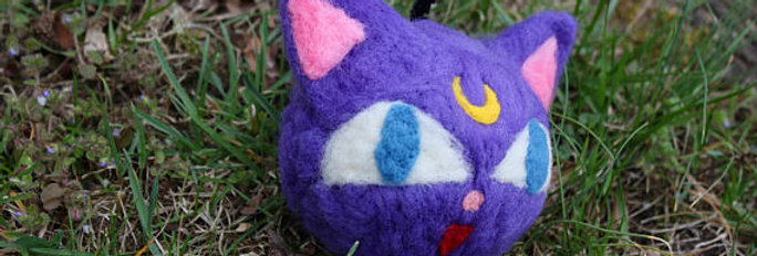 Felted Purple Moon Cat Ball