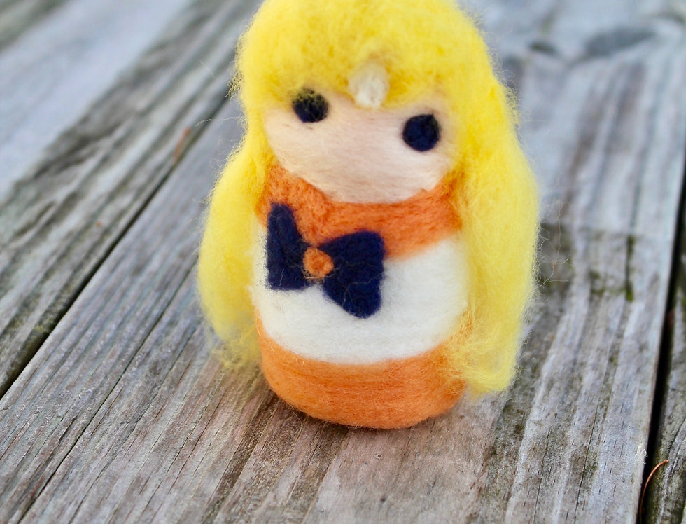 Felt Yellow Sailor Scout Sculpture