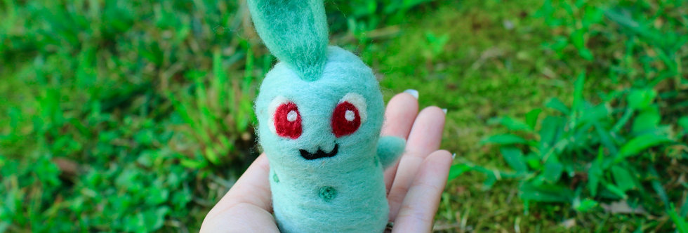 Felted Green Plant Creature