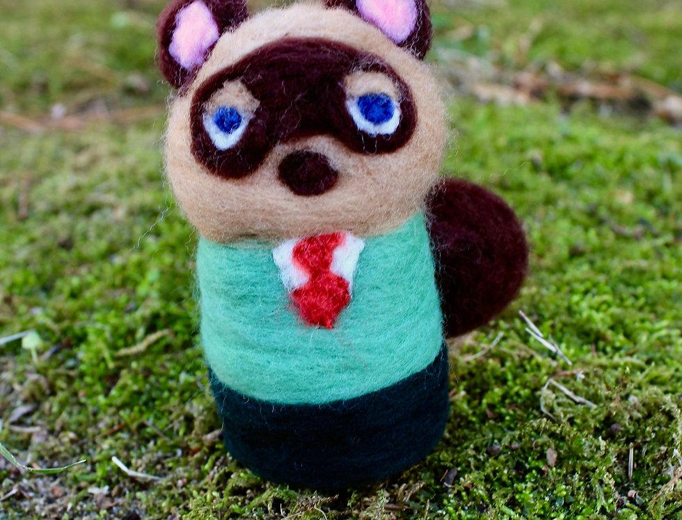 Felted Raccoon Mayor Villager