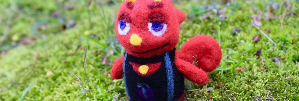Felted Red Chameleon Villager