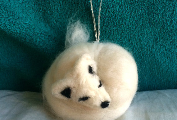 Felted Fox Wolf Holiday Ornament