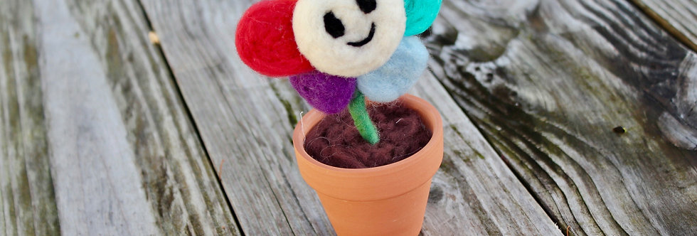 Felted Rainbow Happy Flower in Clay Pot