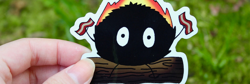 "Soot Sprite Burning Bacon 2.5"" Vinyl Sticker"