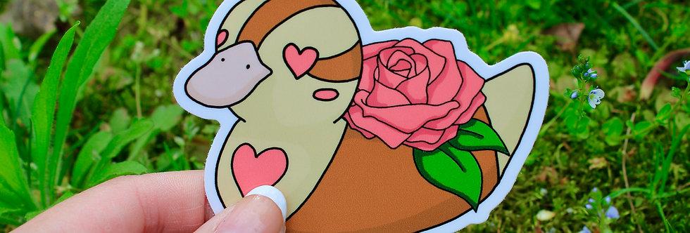 """Pink Rose Baby Turtle Duck 3"""" Vinyl Sticker"""