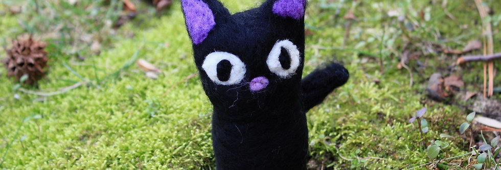 Felt Black Cat with Purple Ears