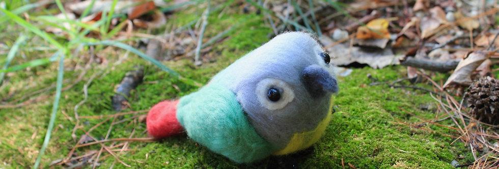 Felted Green Cheek Conure Bird Sculpture