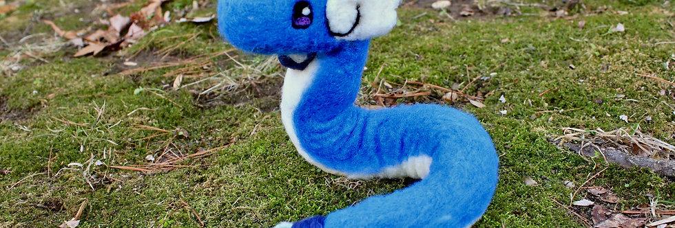 Felted Blue Elegant Dragon